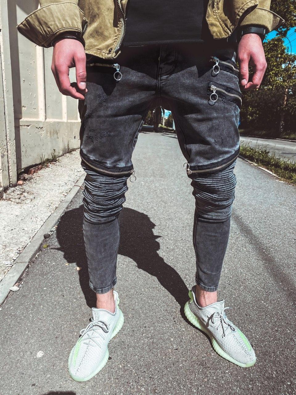 Мужские зауженные джинсы однотонные темно-серые