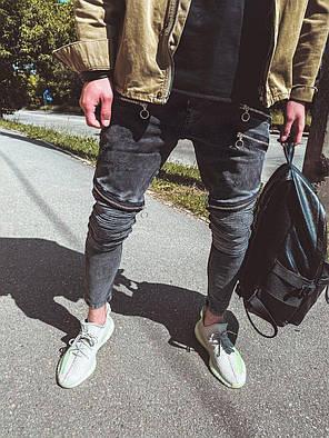 Мужские зауженные джинсы однотонные темно-серые, фото 2