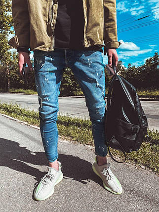 Мужские зауженные джинсы синие поцарапанные, фото 2