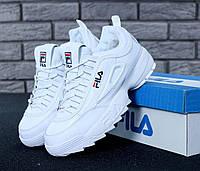 Кроссовки с мехом Fila Disruptor 2 в белом цвете