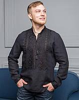 """Вишита чорна сорочка з льону довгий рукав """"Парубок"""" розмір, фото 1"""