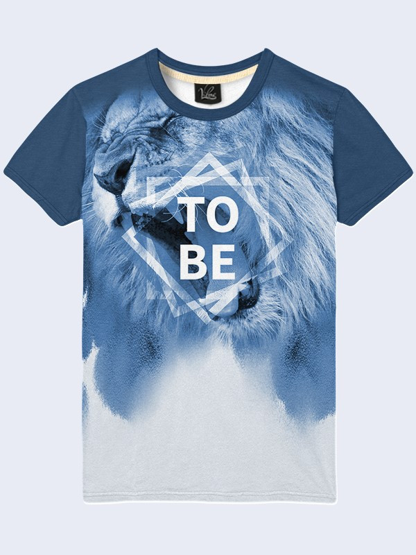 Мужская голубая футболка с принтом Лев To Be