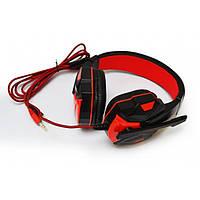 Игровые проводные наушники SOYTO SY850MV с микрофоном Чёрные с Красным