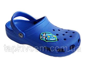 Кроксы подросток для мальчиков( тачки-синие)
