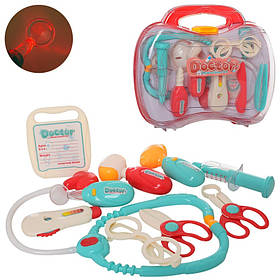 Доктор набор детсикй. Мед.инструменты, свет, 2 вида, бат(табл), в чемодане, 30-24-8см