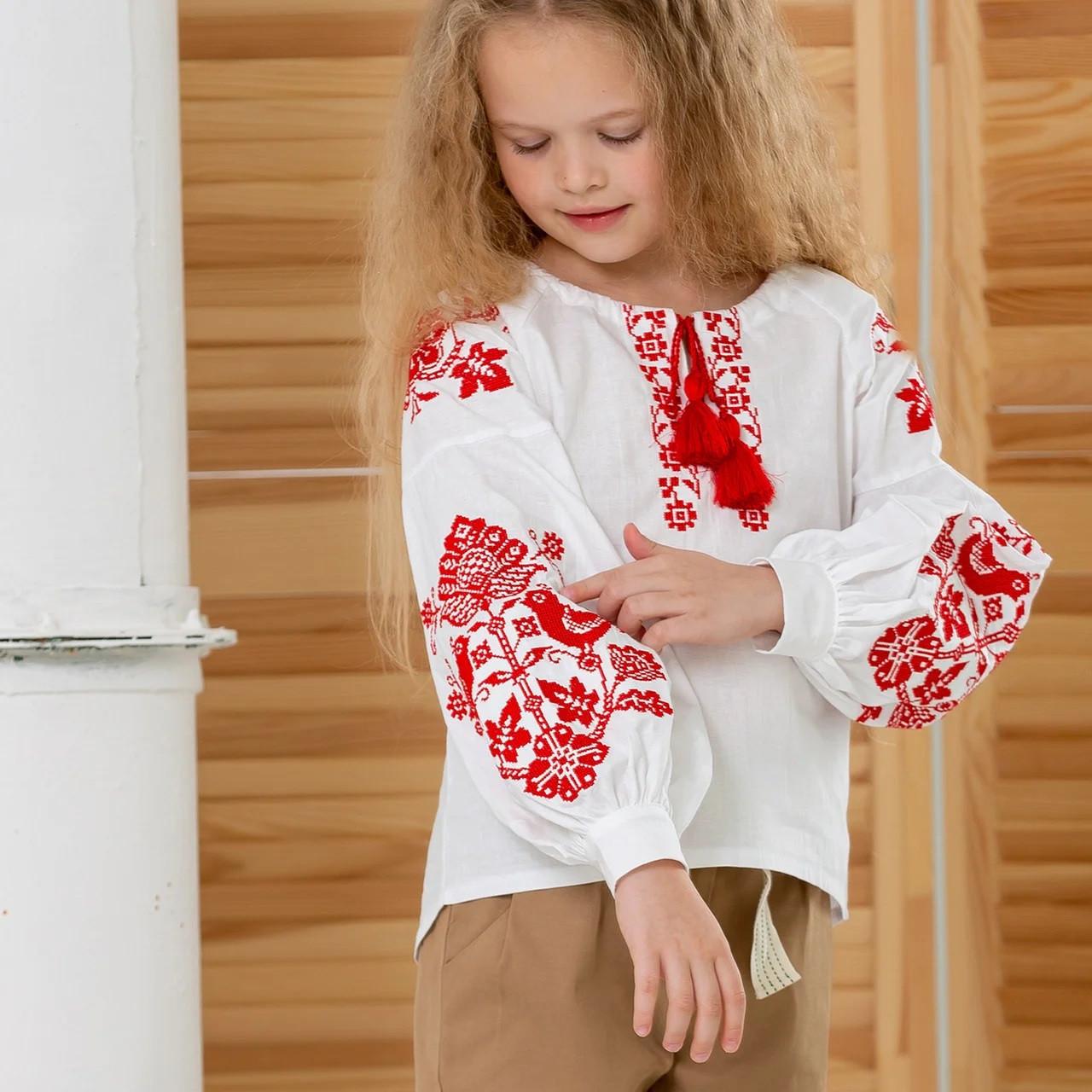 """Вышиванка для девочки в этно стиле """"Соловьи"""""""