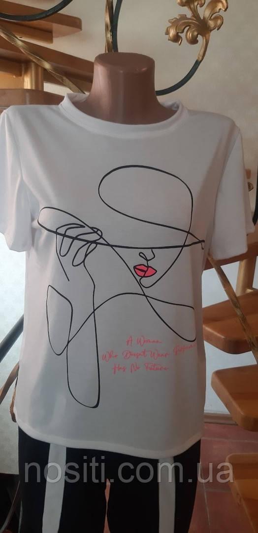 Женская футболка с модным принтом дешево