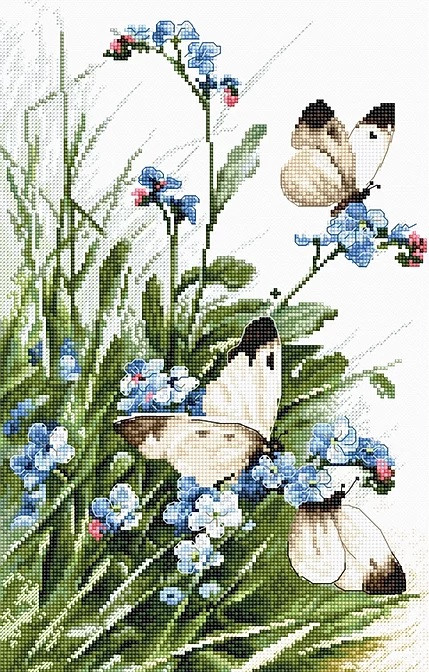 "Набор для вышивки крестом LetiStitch LETI 939 ""Butterflies and bluebird flowers"""