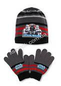Комплект шапка с перчатками Star Wars от Disney, отличное качество, на возраст 2-4 года Серый-черный-красная полоска