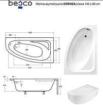 Ванна Cornea 140х80 правая Besco PMD Piramida акриловая асимметричная, фото 2
