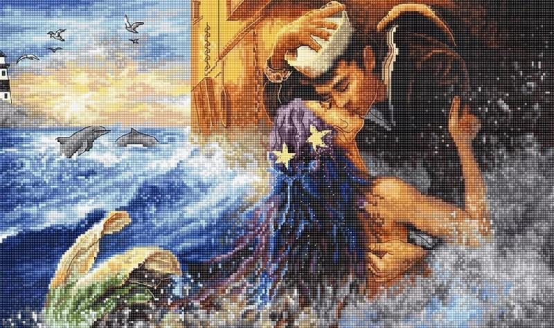 """Набор для вышивки крестом LetiStitch LETI 940 """"Mermaid kiss"""""""