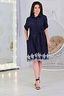 Жіноче плаття сорочка з кишенями і мережаний вишивкою по низу, арт. А487, тканина батист, колір темно синій