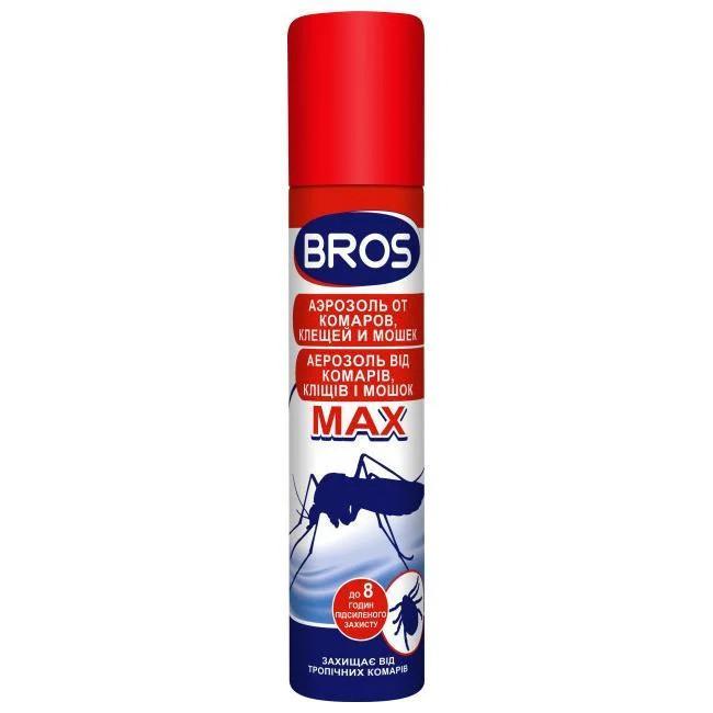 BROS/ БРОС спрей от комаров и клещей MAX, 90 мл — защищает от укусов комаров и клещей