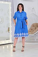 Жіноче плаття сорочка з кишенями і мережаний вишивкою по низу, арт. А487, тканина батист, колір блакитний синій