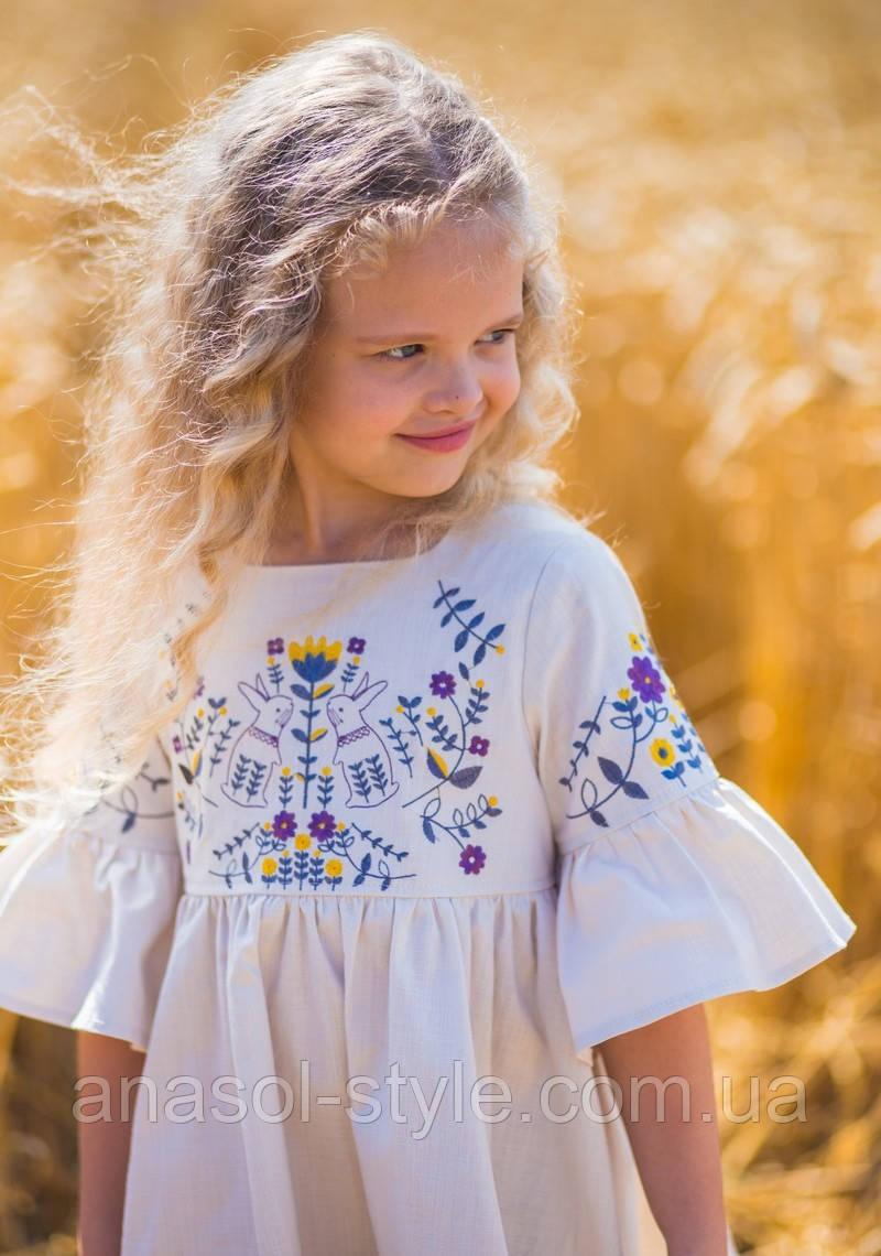 Платье летнее для девочки Suzie в этно стиле с вышивкой льняное белое