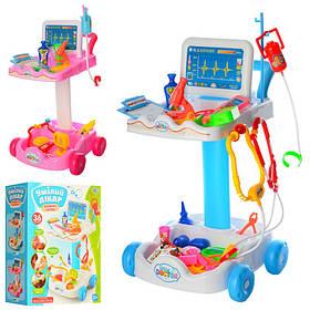 Детский набор Доктора тележка 30,5-30-51см, инструменты, микроскоп, очки, в кор-ке,