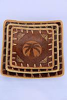"""Набір квадратних страв """"Пальма"""" з обплетенням із ротанга (30, 25 і 20 см)"""