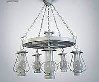Люстра 5-ти ламповая, люстра керосинка, люстра колесо  9405