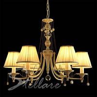 Люстра с абажурами в гостиную, спальню, кабинет 6-ти ламповая, классическая 2209/6 белый + золото