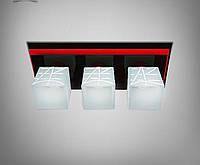 Люстра потолочная черно-красная металлическая в кухню, коридор, гостиную 10133-2