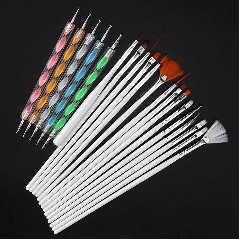 Набор кистей (15 шт) и дотсов (5 шт) для дизайна и рисования на ногтях, белые