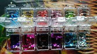 Ромбики для дизайна ногтей в кассете (12 оттенков)