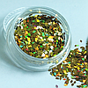 Ромбики для дизайну нігтів, Золотий голографик, 1 000 шт, фото 2
