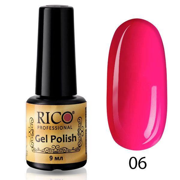 Гель-лак Rico Professional № 6, Розово-малиновый, эмаль, 9 мл