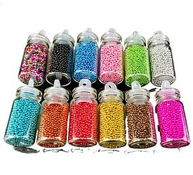 Бульонки для декору нігтів, набір, 12 відтінків
