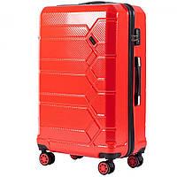 Великий пластиковий чемодан на 4 колесах Wings PC185 L