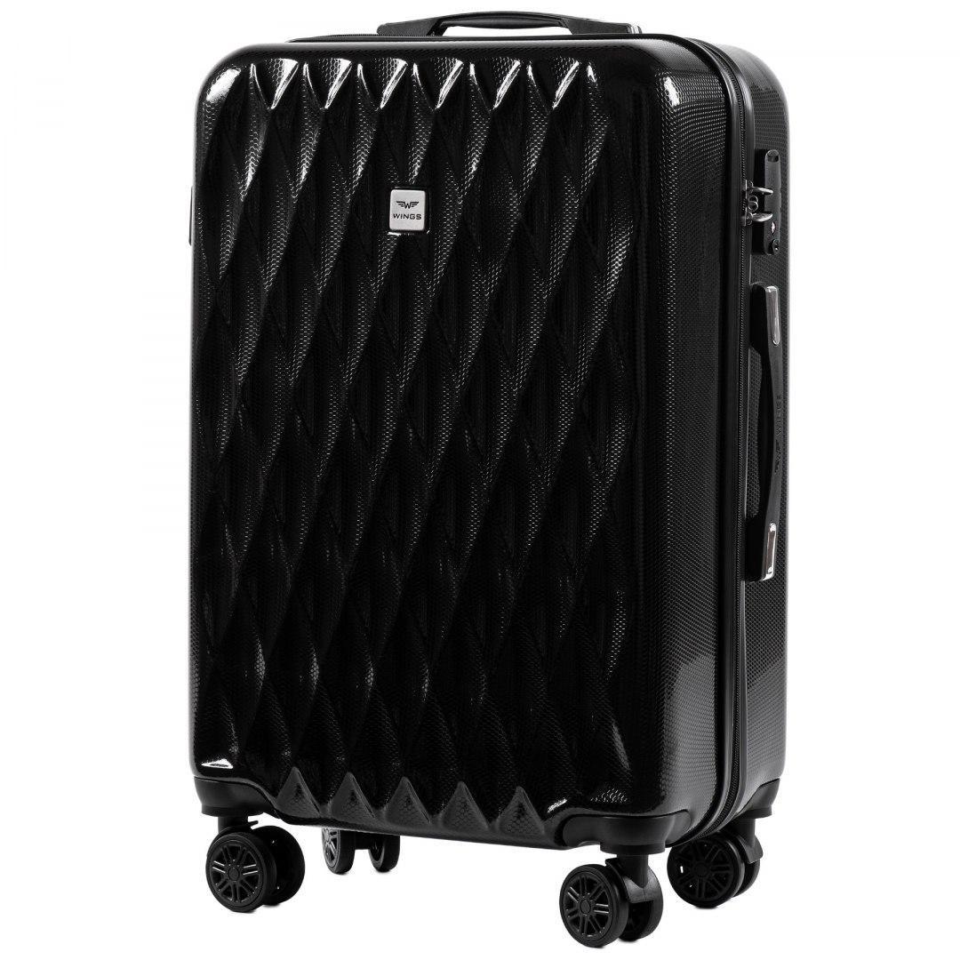 Средний пластиковый чемодан на 4 колесах Wings PC190 M