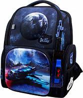 Рюкзак ранец школьный каркасный ортопедический для мальчика DeLune Космос + сменка для обуви + часы