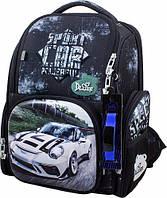 Рюкзак ранец школьный каркасный ортопедический для мальчика DeLune Sport Car + сменка для обуви + часы