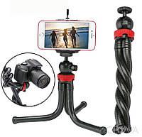 Гибкий штатив тринога трипод для телефона и фотоаппарата (паук) (черно-красный), фото 1