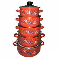 Набор Эмалированных Кастрюль Со Стеклянными Крышками UNIQUE UN-2356 Цвета В Ассортименте, фото 1