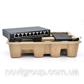 Комутатор POE 48V Mercury S109PS 8 портів POE + 1 порт Ethernet (Uplink) 10/100 Мбіт / сек, БП в комплекті,