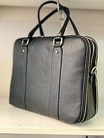 Итальянская кожаная женская деловая сумка черная  , портфель  Borse in Pelle, Италия