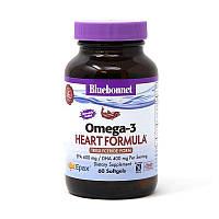 Жирные кислоты Bluebonnet Omega-3 Heart Formula, 60 капсул