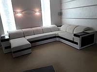 Большой угловой диван перетяжка