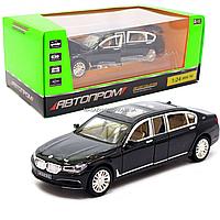 Машинка игровая автопром «BMW 760» кадиллак металл, 20 см, черный, свет, звук, двери открываются (7695), фото 1