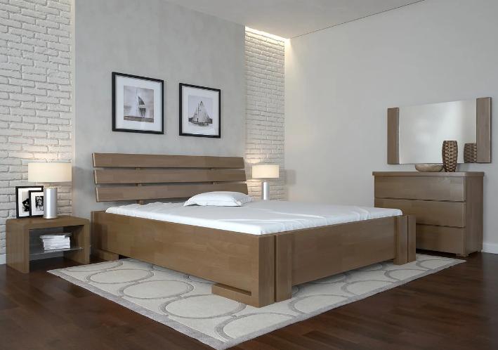 Кровать деревянная Домино с подъемным механизмом орех. ТМ Arbor Drev.