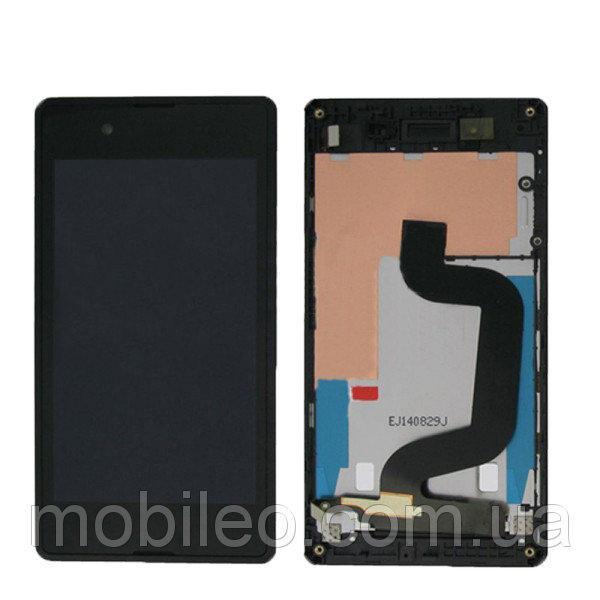 Дисплей (LCD) Sony D2202 Xperia E3   D2203   D2206 с тачскрином, чёрный, оригинал (PRC) рамка