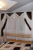 Шифоновый ламбрекен ручная складка Божена 3м