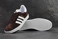 Кроссовки мужские коричневые с белым Adidas Gazelle 4215