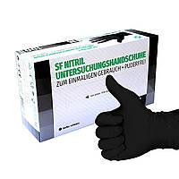 Черные нитриловые перчатки SF Medical L (8-9) 100 шт