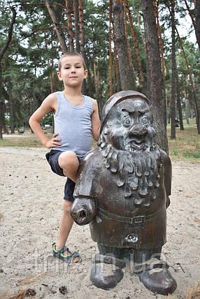 Майка детская хлопковая (серая) полотно меланж, фото 2