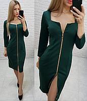 Платье арт. 810 темно-зеленый /зеленый / бутылка