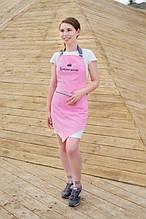 Фартук косметолога Enova  розовый с серым углом