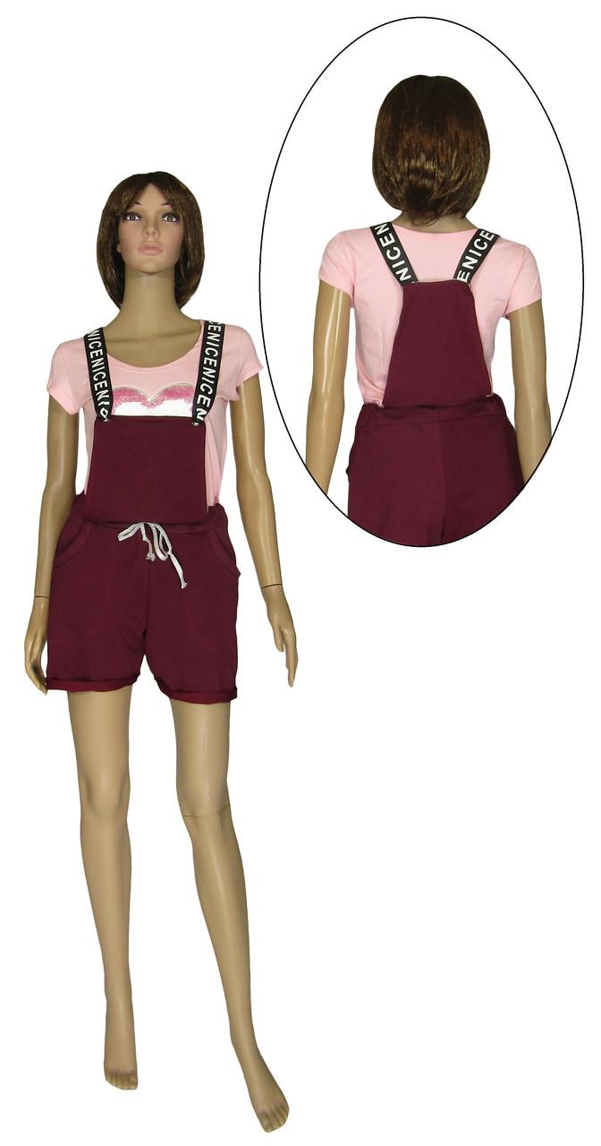 Комбинезон женский летний трикотажный с шортами 20023 Sally Leto двунитка Бордовый