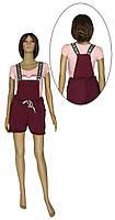 Комбинезон женский летний трикотажный с шортами 20023 Sally Leto двунитка Бордовый, фото 1
